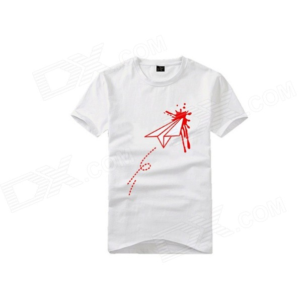 Grappige Fashion Heart Hurt door Paper Airplane Patroon Katoenen T-shirt - Wit (M)