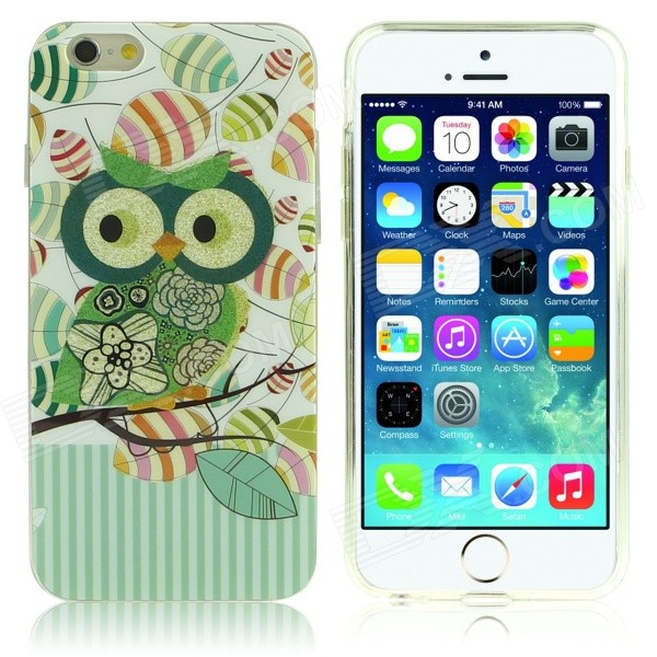 DF-026 Owl Pattern Protective TPU Back Case for IPHONE 6 4.7 - Green + Multi-Color df 026 owl pattern protective tpu back case for iphone 6 multicolored