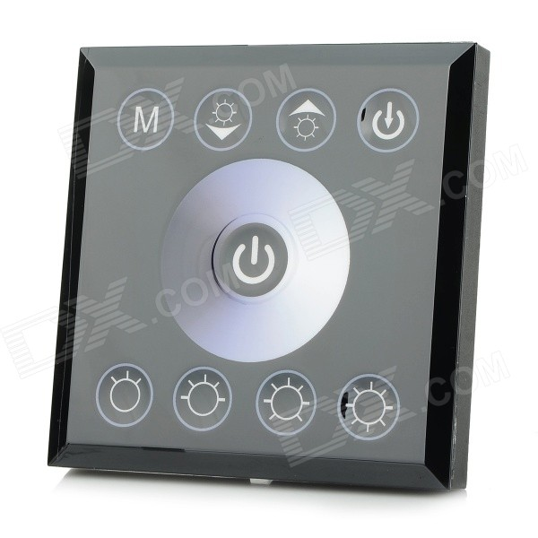 96W 2-CH Touch Panel Single Color LED Light Strip Dimmer Controller - Black + White (DC 12~24V) a975got tbd b a975got tba ch a975got tbd ch touch pad