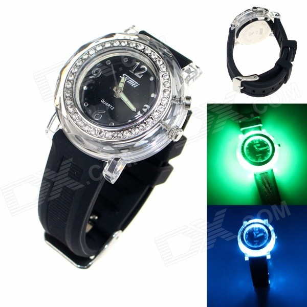 SKMEI 0995C Zinc Alloy Case Silicone Band Digital Analog Wrist Watch - Black (1 x CR2025 + SR626)