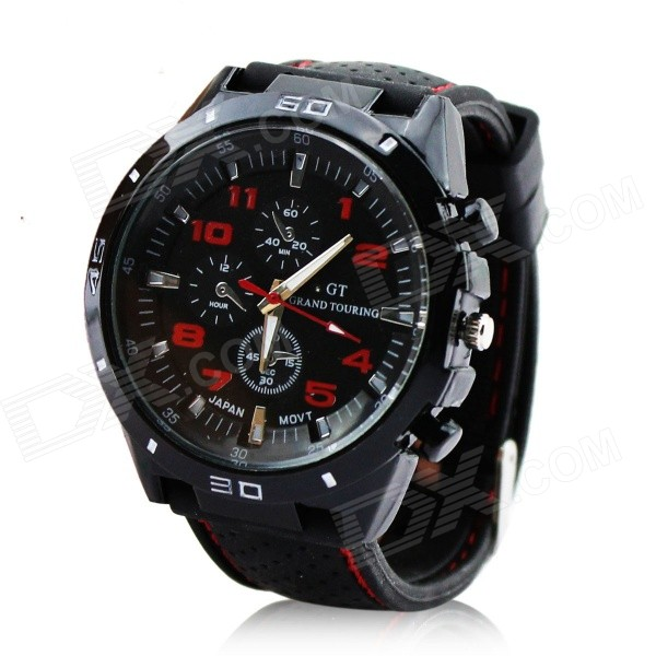 GT03 Men's Water Resistant Silicone Band Analog Quartz Wrist Watch - Black + Red (1 x 377)