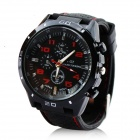 Men's Water Resistant Silicone Band Analog Quartz Wrist Watch - Black + Red (1 x 377)