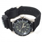 WEIPENG W-1 Men's Sports Outdoor Zinc Alloy Case Cloth Belt Quartz Analog Watch w/ Compass - Black