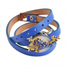 Women's Stylish Rhinestones Inlaid Giraffe Style Case PU Band Quartz Analog Bracelet Watch - Blue