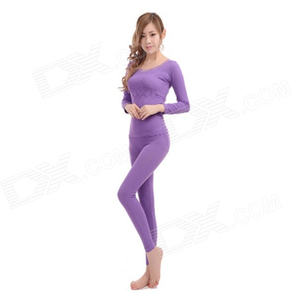 RW-91 Thermal Combed Cotton Underwear Suits for Women - Purple