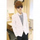 Men's Fashion Slim Cotton Suit - White (XL)