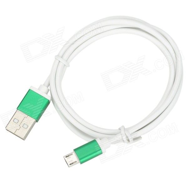 USB 2.0 Male to Micro USB Male Data Charging Cable for Samsung - Green + White (1m) flat micro usb male to usb 2 0 male data sync charging cable for samsung more purple 100cm