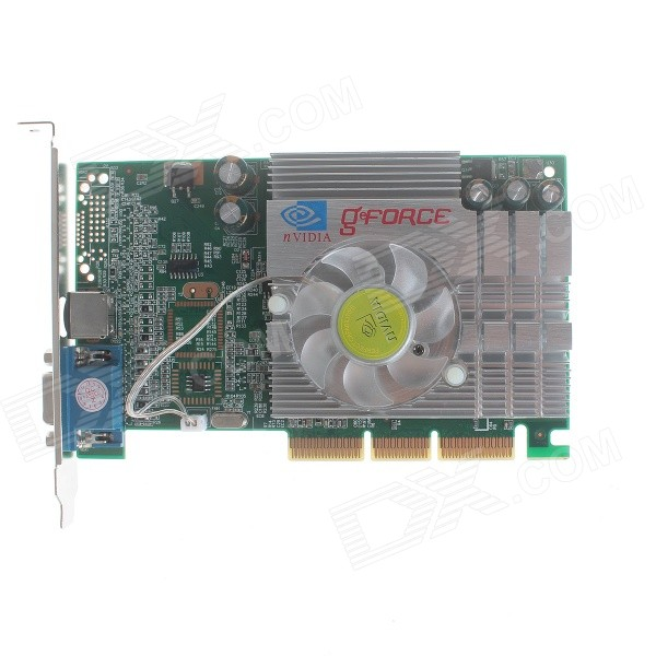 NVIDIA GeForce FX5200B 256M AGP 8X Graphics Card - Green + Silver free shipping daul 10cm fan 5 heatpipe copper for nvidia ati graphics cooler vga cooler vga fan pccooler k100