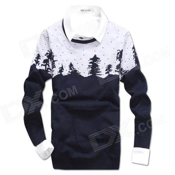 Men's Christmas Trees Pattern Printed Round Collar Cotton Sweater - Navy Blue + White (L)