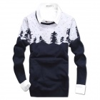 Men's Christmas Trees Pattern Printed Round Neck Cotton Sweater - Navy Blue + White (L)