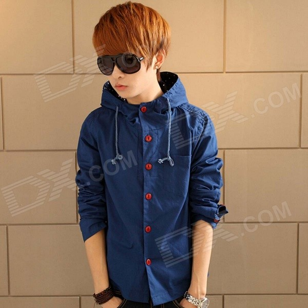 Men's Fashion Cotton Slim Hooded Jacket - Blue (L) lole куртка lsw0739 essential jacket l solidate blue stripe