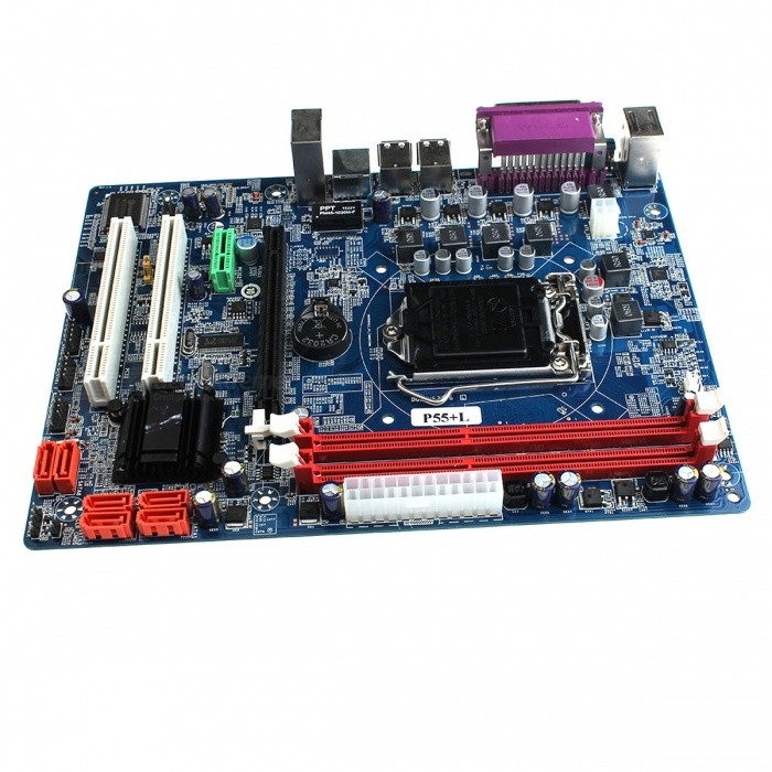 Intel P55+L ATX LGA1156 Computer Motherboard - Multicolored