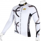 Paladinsport Patterned Long-sleeve Polyester Zipper Jersey for Cycling - White + Black (XL)