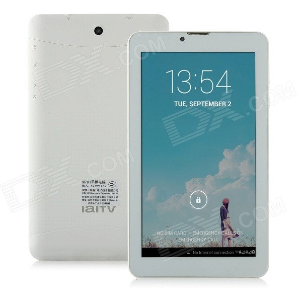IAWAI M701 7 IPS Android 4.2.2 Quad Core Tablet PC w/ 512MB RAM, 8GB ROM, Bluetooth, 2 x SIM -White sosoon x88 quad core 8 ips android 4 4 tablet pc w 1gb ram 8gb rom hdmi gps bluetooth white
