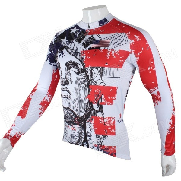 Paladinsport Men's Patterned Long-sleeve Polyester Jersey Top for Cycling - White + Red + Black (S) acs758lcb 050b pff t acs758lcb 050u