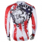Paladinsport Men's Patterned Long-sleeve Polyester Jersey Top for Cycling - White + Red + Black (S)