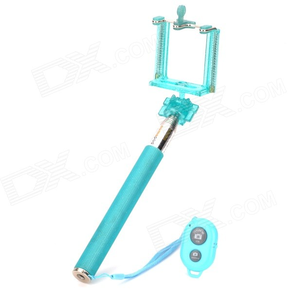 Handheld Telescopic Selfie Monopod + Bluetooth Remote Shutter for iOS / Android Phone - Light Blue дистанционный спуск затвора для фотокамеры oem selfie bluetooth remoto ios android