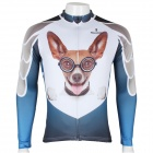 Paladinsport 3D Dog Pattern Bicycle Cycling Long Sleeve Jersey Top Shirt - White + Blue (Size-S)