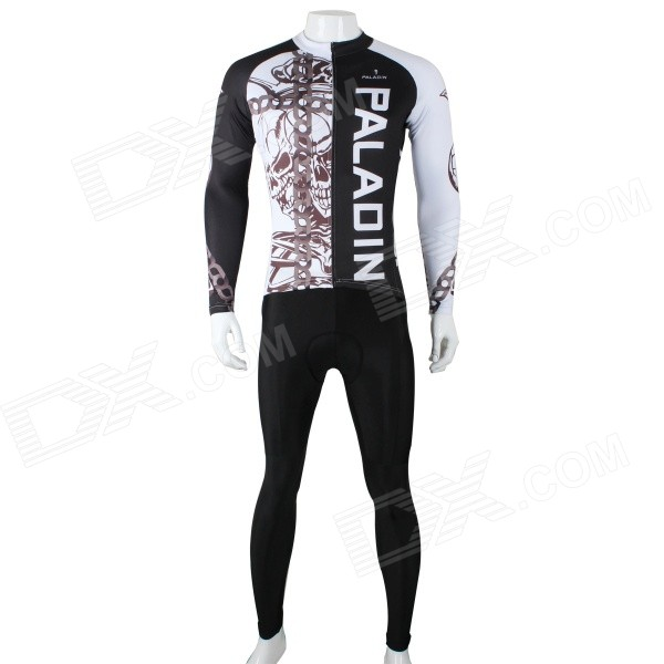 Paladinsport 296CT-2XL Skeleton Necklace Cycling Long Sleeve Jersey + Pants Set -White + Black (XXL)