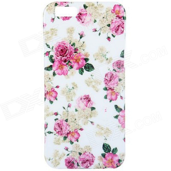 Beautiful Flowers Style Pattern TPU Soft Back Case for IPHONE 6 4.7 - White + Red + Multi-Color usams perfume style tpu back case for iphone 6 4 7 brown multi color