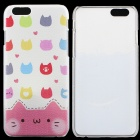 "Cat Pattern Protective PC Back Case for IPHONE 6 4.7"" - White + Pink + Multi-Color"