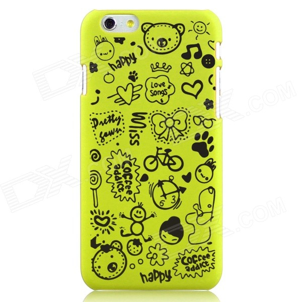 Hat-Prince Cartoon Print Protective Matte Non-slip Back Case for IPHONE 6 PLUS - Yellowish Green iface mall glossy pc non slip tpu back case for iphone 6 plus 6s plus blue