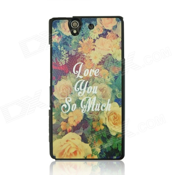 цены Flower Pattern Protective PC Back Case for Sony Xperia Z / L36H - Yellow + White + Multi-Color