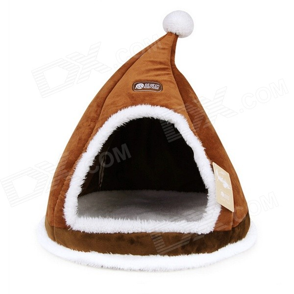 YDL-WA4012-M-1 Fashionable Christmas Hat Style Bed for Pet Cat / Dog - Brown + White (M) brushed cotton twill ivy hat flat cap by decky brown
