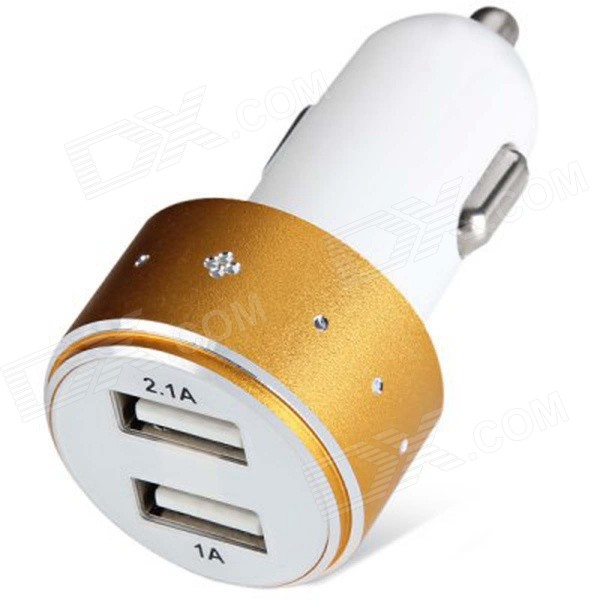 ES-06 Universal 5V 1A/2.1A 2-Port USB Car Charger for IPHONE / Cellphone + More - Golden + White