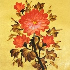 "Hand-painted ""Peony Flowers"" Gold Foil Canvas Oil Painting - Golden + Red (45 x 35cm)"