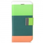 "Stylish PU Leather Flip Open Case w/ Stand & Card Slot for IPHONE 6 4.7"" - Green + Multi-Color"