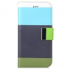 "Stylish PU Leather Flip Open Case w/ Stand & Card Slot for IPHONE 6 4.7"" - Blue + Black"