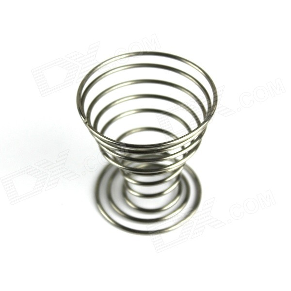 Stainless Steel Spring Egg Placing Tray Cup Holder - Silver
