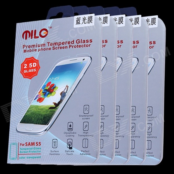 MILO Blue Ray Anti Myopia 0.33mm 2.5D Tempered Glass Screen Protector for Samsung S5 (5 PCS) baseus for iphone 6s 6 0 2mm anti blue ray tempered glass screen protector black