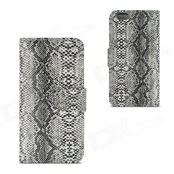 Angibabe Snake Skin Pattern Flip-open PU Leather Case with Card Slots for IPHONE 6 4.7 - Gray angibabe snake skin pattern flip open pu leather case with card slots for iphone 6 4 7 pink