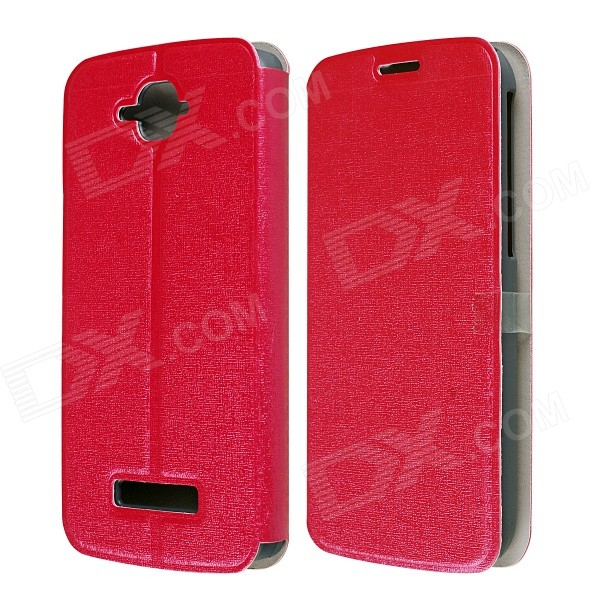 CM01 Protective PU Leather Flip-Open Case w/ Stand for Alcatel One Touch Pop C7 - Red mooncase alcatel one touch pop c7 leather flip card holder pouch stand back чехол для alcatel one touch pop c7 blue