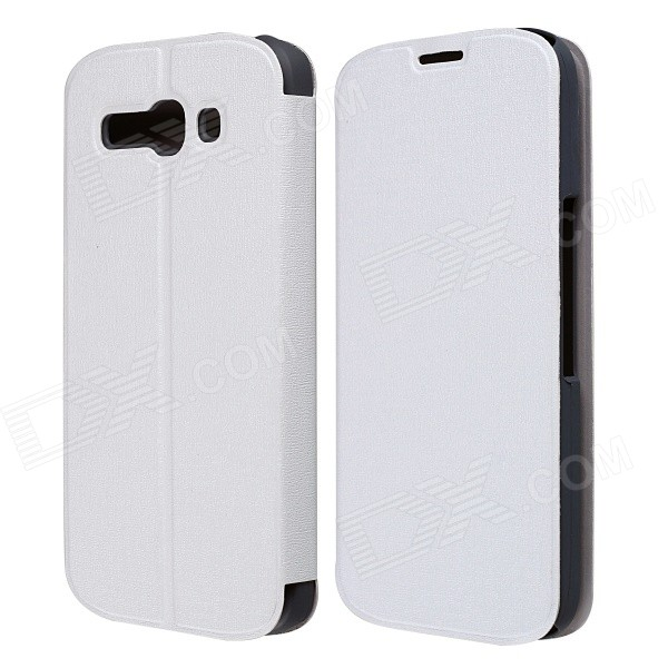CM01 Protective PU Leather Flip-Open Case w/ Stand for Alcatel One Touch Pop C9 - White mooncase alcatel one touch pop c7 leather flip card holder pouch stand back чехол для alcatel one touch pop c7 blue