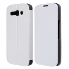 CM01 Protective PU Leather Flip-Open Case w/ Stand for Alcatel One Touch Pop C9 - White