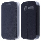 CM01 Protective PU Leather Flip-Open Case w/ Stand for Alcatel One Touch Pop C1 - Black