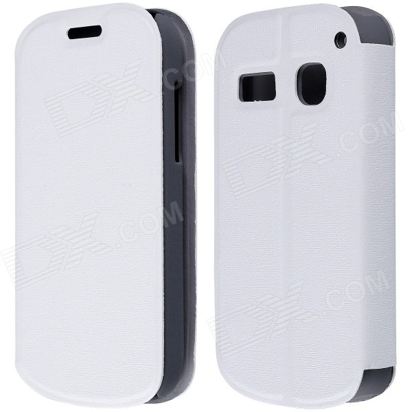 CM01 Protective PU Leather Flip-Open Case w/ Stand for Alcatel One Touch Pop C3 - White mooncase alcatel one touch pop c7 leather flip card holder pouch stand back чехол для alcatel one touch pop c7 blue