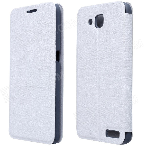 CM01 Protective PU Leather Flip-Open Case w/ Stand for Alcatel One Touch Idol 2S - White смартфон alcatel one touch idol 4 6055k dark gray