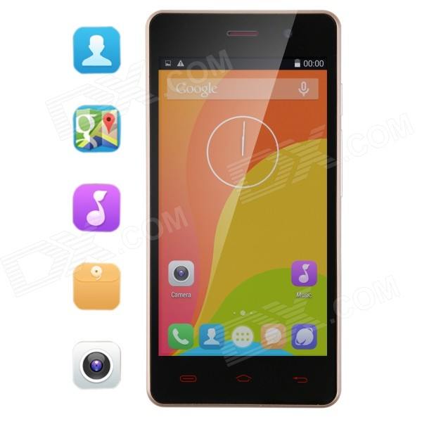 Bluboo X3 Android 4.4 Quad Core WCDMA Smartphone w/ 4.5 IPS, GPS, WiFi, Bluetooth, 4GB ROM - Golden m pai 809t mtk6582 quad core android 4 3 wcdma bar phone w 5 0 hd 4gb rom gps black