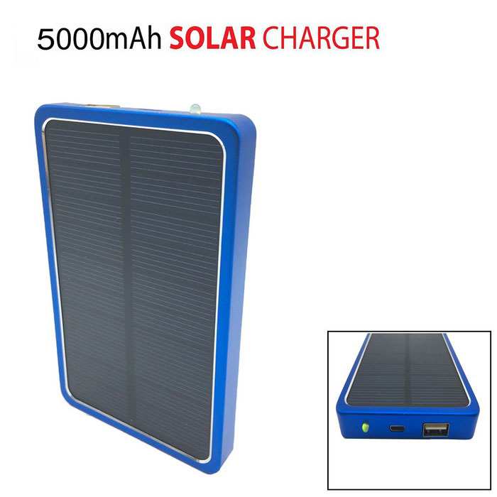 MEDIACON Solar Powered 8000mAh External Battery Charger Power Bank for IPHONE / Samsung / HTC - Blue