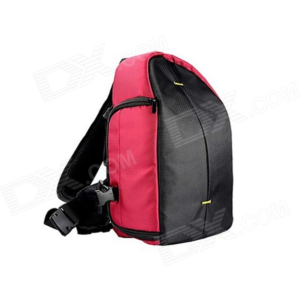 JB77-RD Nylon Single Shoulder Backpack Bag for Canon / Nikon / Sony / Samsung + More - Red + Black professional dslr camera messenger bag shoulder photo backpack digital slr waist bag rucksack knapsack for canon nikon raincover