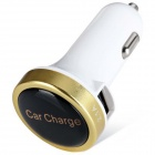 ES-05 Universal 5V 1A/2.1A 2-Port USB Car Charger for IPHONE / Cellphone + More - Golden + White