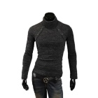 MJ14 Fashion Multi-button Men's Cotton Blend Turtleneck Sweater - Deep Grey (XL)