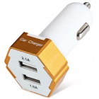 ES-04 Compact Universal 5V 1A/2.1A Dual USB Output Car Charger for IPHONE / Cellphone - Golden