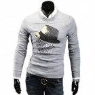 Printed Hat Pattern Men's Casual Fashionable Cotton Blend Round Collar Sweater - Light Grey (XL)