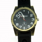 WEIJIEER 6181 Men's Casual Steel Case PU Band Quartz Analog Wrist Watch - Golden + Black (1 x SR626)