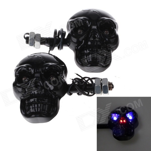 Skull Head Style 1W 4-LED 60lm Purple Light Motorcycle Steering Lamps - Black (12V) skull head style 1w 4 led 60lm yellow light motorcycle steering lamps silver 12v